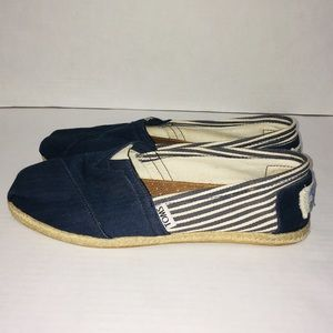 Toms Shoes - Toms Blue Nautical Shoes Canvas Slip On Flats